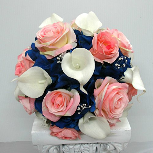 (Royal Blue and white Calla Lily Silk Flower Wedding Bouquet for Bridal Party and Bride)