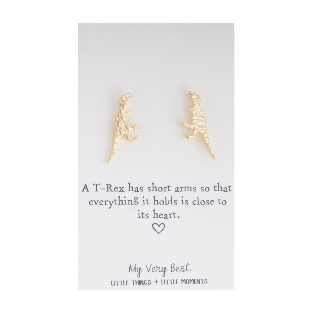 My Very Best Tiny Cute Dinosaur T- Rex Stud Earrings (gold plated brass)