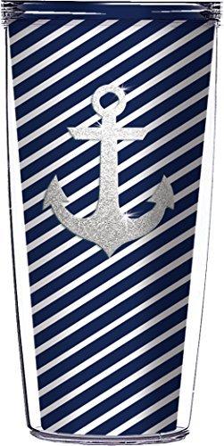 (Silver Anchor Bling Navy Diagonal Stripes Traveler 16 Oz Tumbler Cup)
