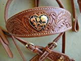 Fully Engraved Silver Gold Heart Western Show Saddle Bridle Headstall Reins