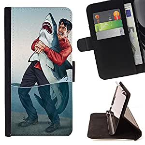 - Shark Sea - - Style PU Leather Case Wallet Flip Stand Flap Closure Cover FOR LG G2 D800 - Devil Case -