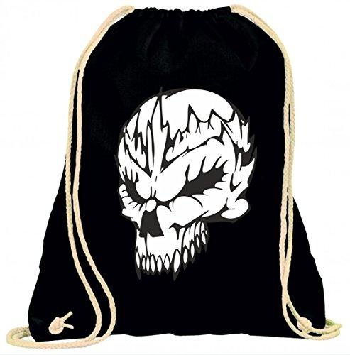 Turnbeutel Schädel Toten mit Zacken Aufstehen Skelett Rocker Motorradclub Gothic Biker Skull Emo Old School mit Kordel - 100% Baumwolle- Gymbag- Rucksack- Sportbeutel Schwarz