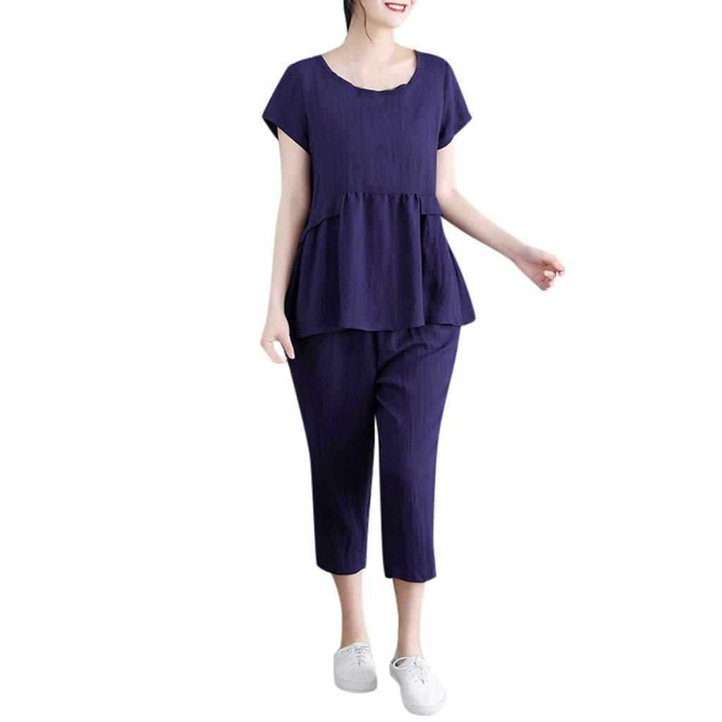 6fb932d36 Amazon.com: Women's Casual Cotton Linen 2 Pieces Outfit Short Sleeve Round  Neck T Shirt Plain Loose Scalloped Tops Comfy Breathable Cropped Pants Plus  Size: ...