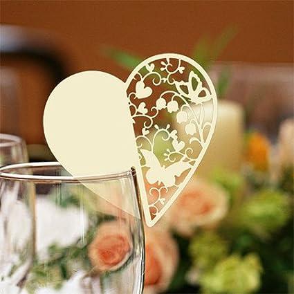 Amazon Com Gold 120pcs Laser Cut Heart Shape Design Name