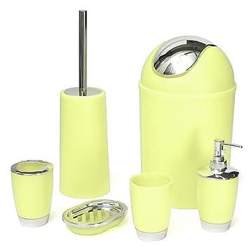 MOOUK - Juego de 6 Accesorios de baño para Cepillo de Dientes, jabonera, Papelera