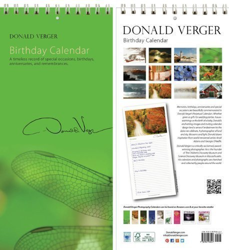 Donald Verger Photography Dragonfly Birthday and Anniversary Perpetual Calendar. Wall or Desk. 11x5.]()