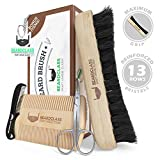 BEARDCLASS Organic Bamboo Beard Brush and Wooden Comb Kit Set - 4 in 1 Beard Grooming Kit Care Set with Dual Sided Comb & Boar Bristle Beard Brush - Mustache Comb and Scissors Include Gift Kit For Men