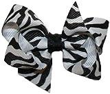 Hair Bows ~ Large Zebra Animal Print Tied GrosGrain Hair Bow