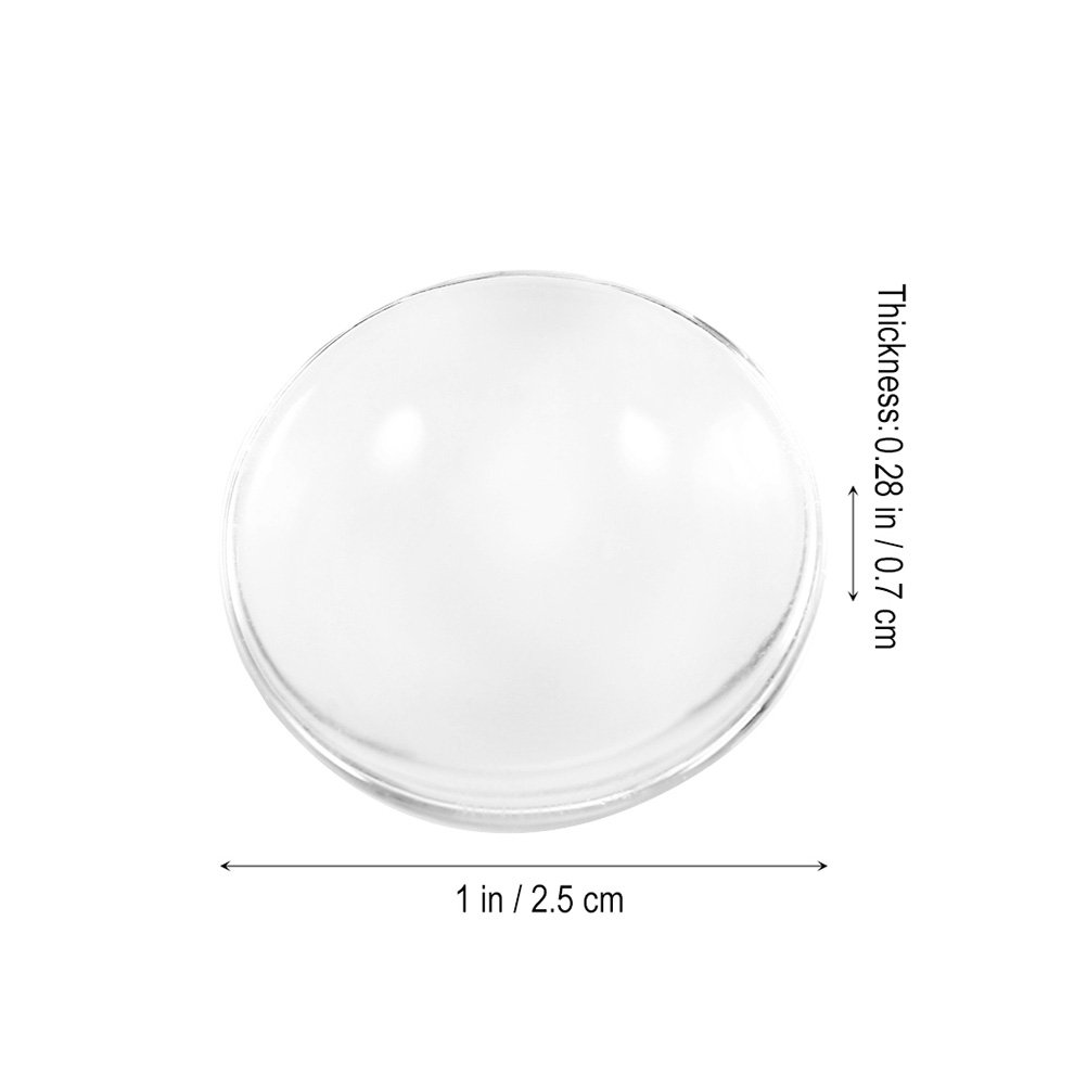 Healifty 100pcs Clear Glass Dome Tile Cabochon Non-calibrated Round for Cameo Pendant Jewlery Making 25mm