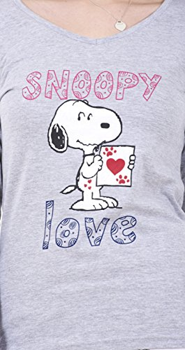 Snoopy - Conjunto de pijama Snoopy de manga larga para mujer Pijama de Mickey o de Minnie Mouse para mujer Blanco - Snoopy Love