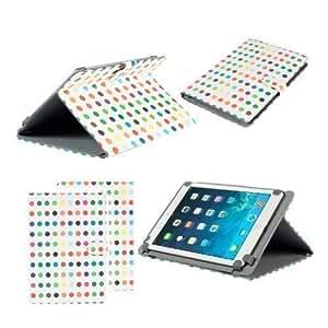 Funda soporte Neotechs® con lunares multi-color elegante estilo folio en cuero compatible con Samsung Galaxy Tab 2 & 3 10.1 Note 10.1