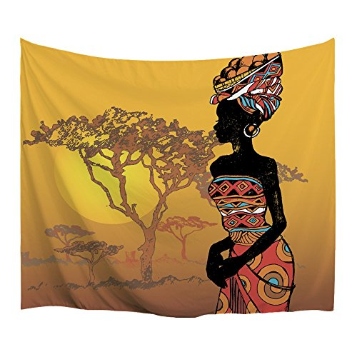 African Wall Tapestry - XINYI Home Wall Hanging Nature Art Polyester Fabric African Woman Theme Tapestry, Wall Decor For Dorm Room, Bedroom, Living Room, Nail Included - 80
