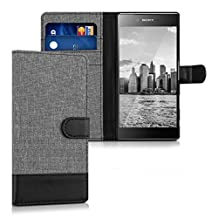 kwmobile Wallet case canvas cover for Sony > Xperia Z5 Premium < - Flip case with card slot and stand in grey black