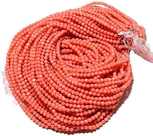 LKBEADS 10 hebras de cuentas de coral al por mayor, cuentas redondas de coral facetadas, cuentas redondas de 4 mm, collar de coral rosa, 38 cm Código-HIGH-49644