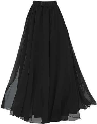 LATUD Women Full Ankle Length Maxi Chiffon Long Skirt
