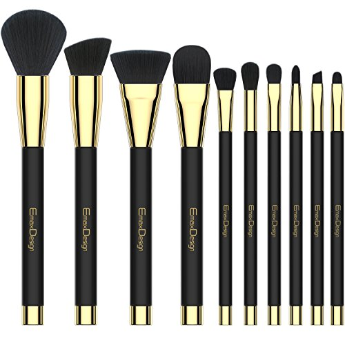 Makeup Brushes EmaxDesign 10 Pieces Makeup Brush Set Professional Foundation Blending Contour Eyeshadow Brow Blush Lip Eye Face Liquid Powder Cream Cosmetics Brushes tool Kit (Angled Blush Brush Mac)
