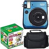 Fujifilm Instax Mini 70 - Blue Instant Film Camera With Fujifilm Instax Mini 5 Pack Instant Film (50 Shots) + Compact Bag Case - International Version (No Warranty)