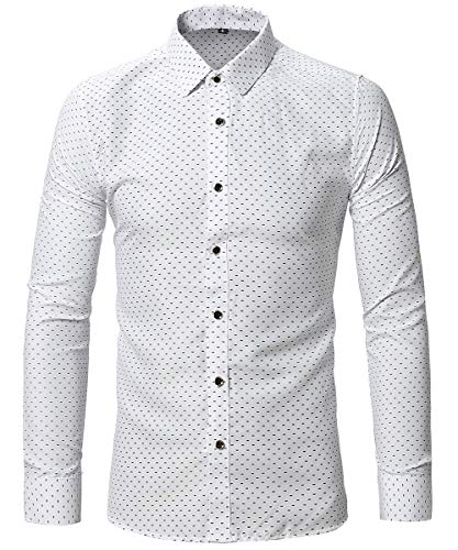FLY HAWK Mens Dress Uniform Button Down Shirt Slim Fit Tapered Long Sleeved Shirts White US M