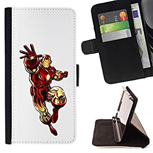 DEVIL CASE - FOR Samsung Galaxy Note 3 III - The Iron Superhero - Style PU Leather Case Wallet Flip Stand Flap Closure Cover