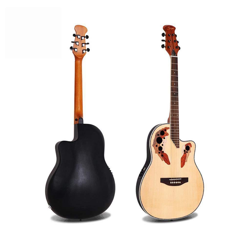 Hjyi Guitarra de Goma de Vuelta Guitarra de balada de Chapa de Abeto Guitarra eléctrica de balada de Caja (41 Pulgadas): Amazon.es: Jardín