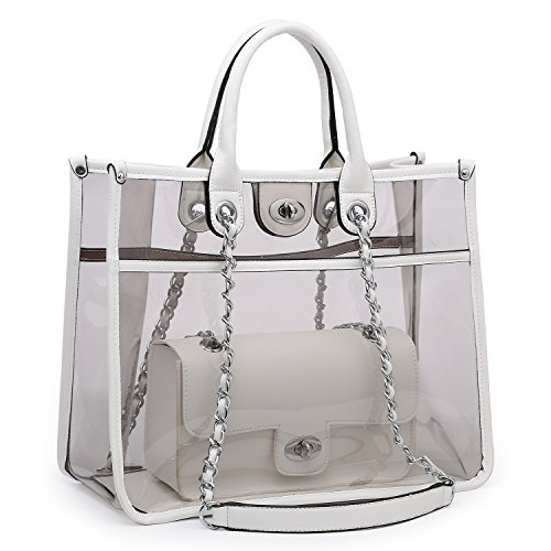 Large Clear Tote Bag PVC Top Handle Shoulder Bag 2 Pieces Set With Turn Lock Closure (White) ()