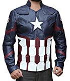 Decrum Mens Captain America Merchandise Jacket - Leather Motorcycle Jacket | Civil War, L
