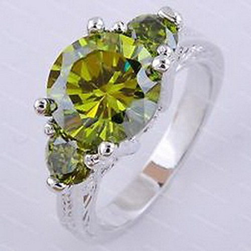 (jacob alex ring Size6 Jewelry Green Peridot Crystal CZ Ring Womens 10KT White Gold Filled)