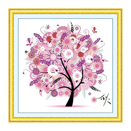 Cross Stitch DIY Handmade Needlework Set Dream Tree Cross-Stitch Scenery Patterns Embroidery, Scenery, Four Seasons Rich Tree, Home Decoration ( 49 x 49 cm ) (Autumn) (Family Tree Stitch Cross)