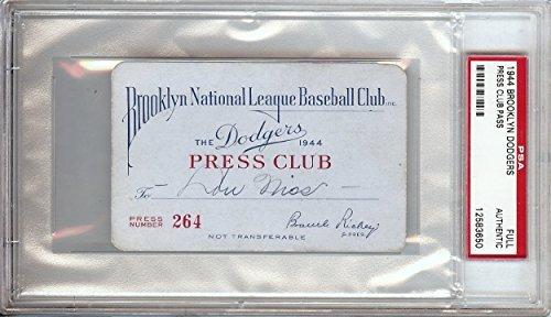 1944 Brooklyn Dodgers Unsigned Press Club Pass Rare Slabbed PSA
