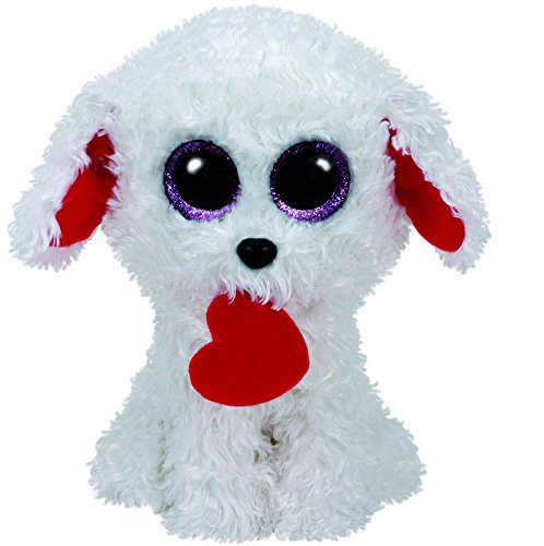 Ty Honey Bun Dog with Heart Plush, White, Regular