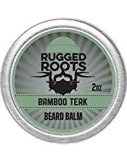 Beard Balm for Men by Rugged Roots - Hair Nourishing Beard Balm with Bamboo Teak Scent for Healthy Shiny Beards - Encourage Strong Beard Growth and Strengthen Hair - Unique Stocking Stuffer for Men