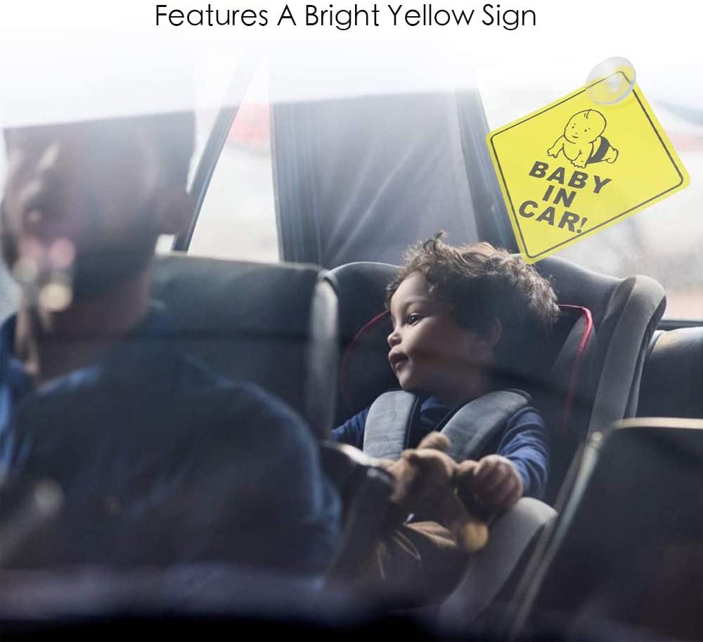 N\A 3Pcs Baby on Board Sign Sticker and Suction Safety Car Warning Sticker Window Warning Signs for Baby Car Boy Girl