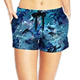 Dolphin Art Women Fashion Elastic Waist Shorts Quick Dry Lightweight Beach Shorts