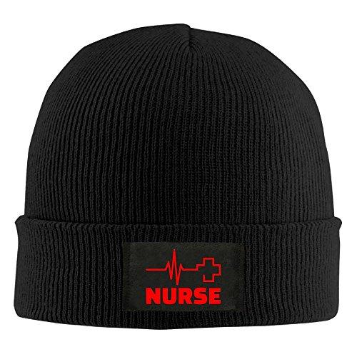 (Nurse Heartbeat Red Cross Unisex Warm Winter Hat Knit Beanie Skull Cap Cuff Beanie Hat Winter Hats Black )