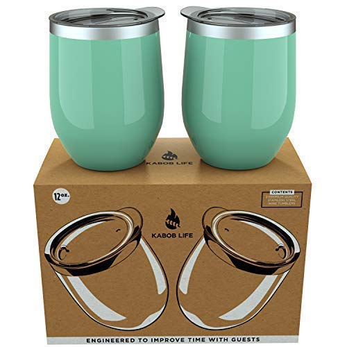 Set of 2 Insulated 12 oz Tumblers Perfect for Outdoor BPA Free Cold Desserts Stainless Steel Wine Glasses with Lids by KabobLife Cocktails Shatterproof Coffee Shiny Seafoam Stemless