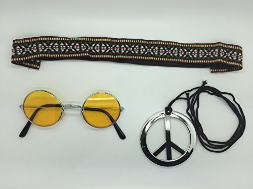 Yellow - Hippie Headband & Yellow Glasses Kit Mens Ladies Unisex Fancy Dress 60s 70s Hippy Kit Necklace by Stylex (60s Necklace)