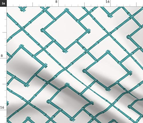 Spoonflower Teal Bamboo Geometric Fabric - Bamboo Upholstery Chinoiserie Aqua Teal Blue Bamboo by Willowlanetextiles Printed on Petal Signature Cotton Fabric by The Yard