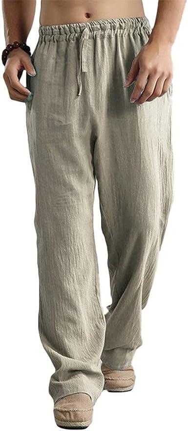 Hombres Pantalones Chandal Cintura Elástica Pantalones ...