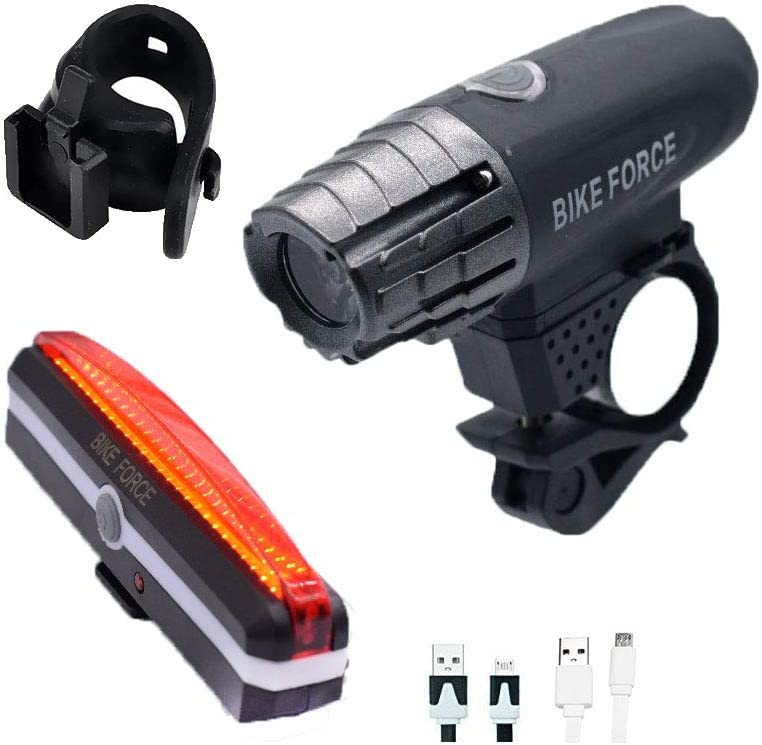 BIKE FORCE, Powerful-Bicycle Lights, USB Rechargeable Bike Lights Set -Super Bright Front Light and Free LED Tail Light-Waterproof Includes mounting Accessories,Safe,Easy to Install