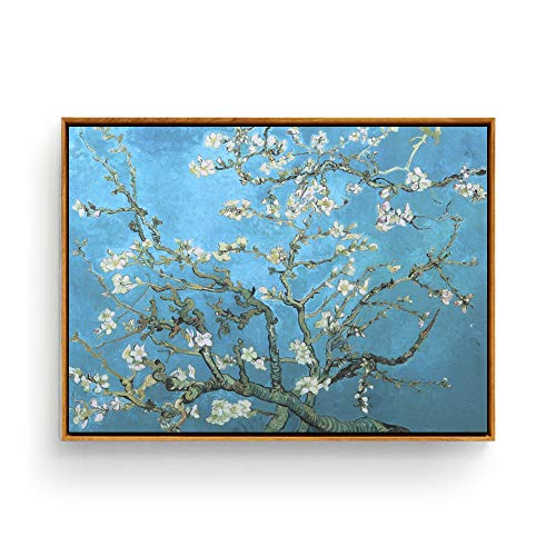 Hepix Almond Blossom Wall Art Van Gogh Canvas Print Oil Paintings, Modern Giclee Famous Wall Artwork Abstract Landscape Wall Pictures for Home Office Decor Ready to Hang, 17x13inch (Framed)