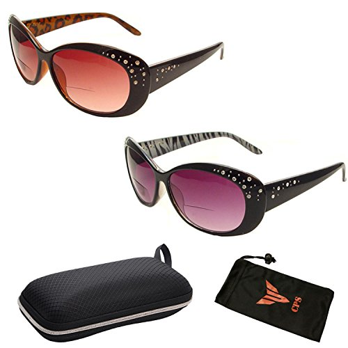 Beautiful Women's Rhinestone Bifocal Sun Readers Reading + Sunglasses All In One (2PK Brown/Black, 1.50) (Glasses Brown Reading Rhinestone)