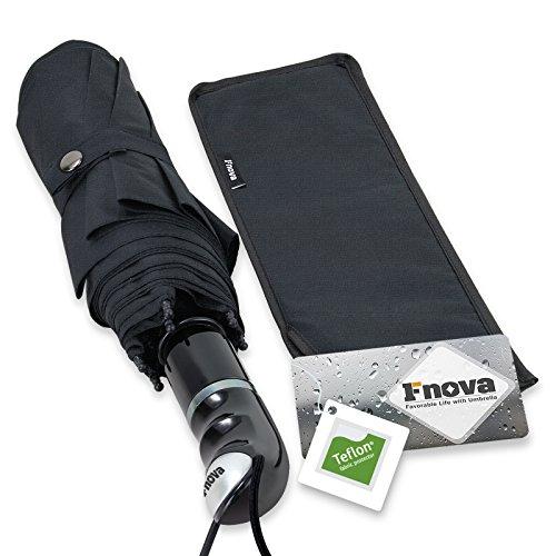 Amazon #LightningDeal 75% claimed: Fnova 45 Inch Travel Umbrella with Dupont Teflon Coated 210T Fabric - Windproof Tested 55MPH - Durable Tested 5000+, Auto Open/Close with Ergonomic Handle, Lifetime Guarantee (BALCK)