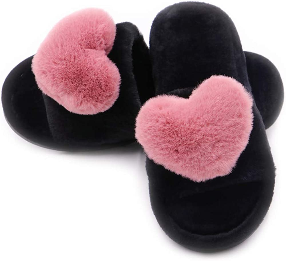 Crazy Lady Women's Fuzzy Fluffy Furry Fur Slippers Flip Flop Open Toe Cozy House Memory Foam Sandals Slides Soft Flat Comfy Anti-Slip Spa Indoor Outdoor Slip on