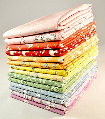 (Designer Fabric 30's Reproduction Prints Fat Eighths Bundle, 14 pieces cotton fabric)