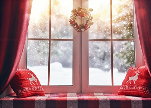 Leowefowa 7X5FT Vinyl Christmas Backdrop Interior Garland Red Curtain Backrest Vintage Window Falling Snowflakes Forest Trees Reindeer Happy New Year Background Kids Adults Photo Studio Props