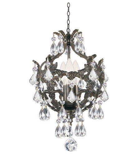 - Mini Chandeliers 3 Light With English Bronze Clear Swarovski Strass Wrought Iron 10 inch 180 Watts - World of Lighting