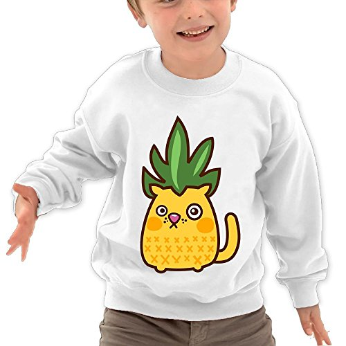 Puppylol Pineapple Cat Kids Classic Crew-Neck Pullover Hoodie White 2 Toddler