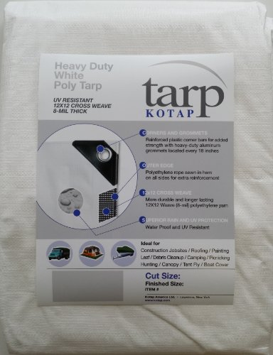 Kotap 30-ft x 40-ft Heavy-Duty 12 by 12 Cross Weave 8-mil White Poly Tarp, Item: TRW-3040
