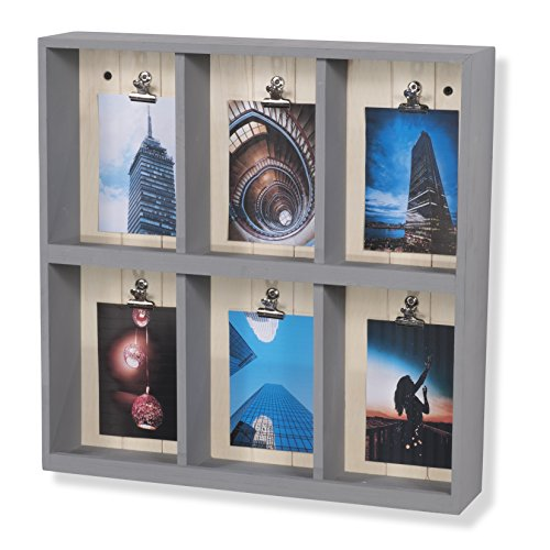 brightmaison Wall Mountable Shadow Box Photo Collage Wooden Display Shelf 6 Compartments Gray -
