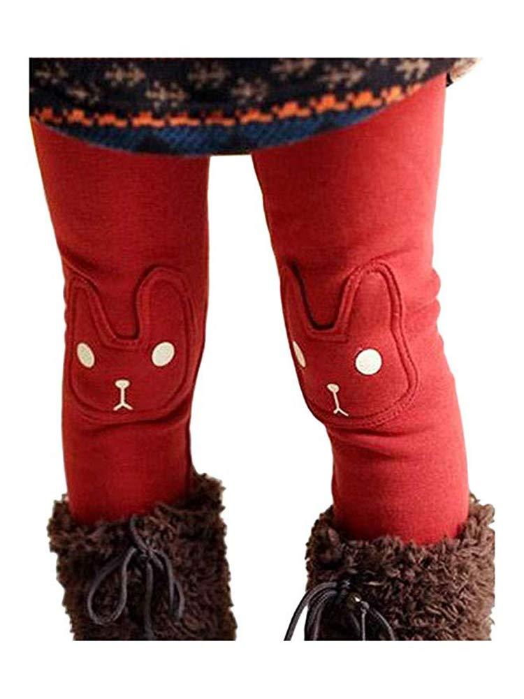 BOWKITE Kids Girls Winter Leggings Bunny Printed Thick Warm Fleece Pants for 2-7 Years